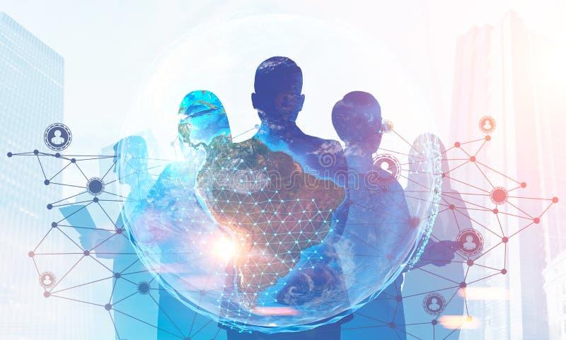 Siluetas del equipo del negocio, gráfico en red global ilustración del vector