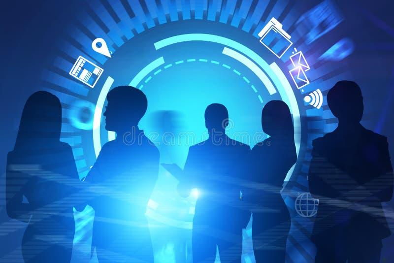 Siluetas del equipo del negocio, vr de los iconos de Internet ilustración del vector