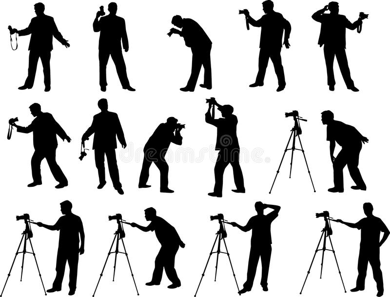 Siluetas del fotógrafo stock de ilustración