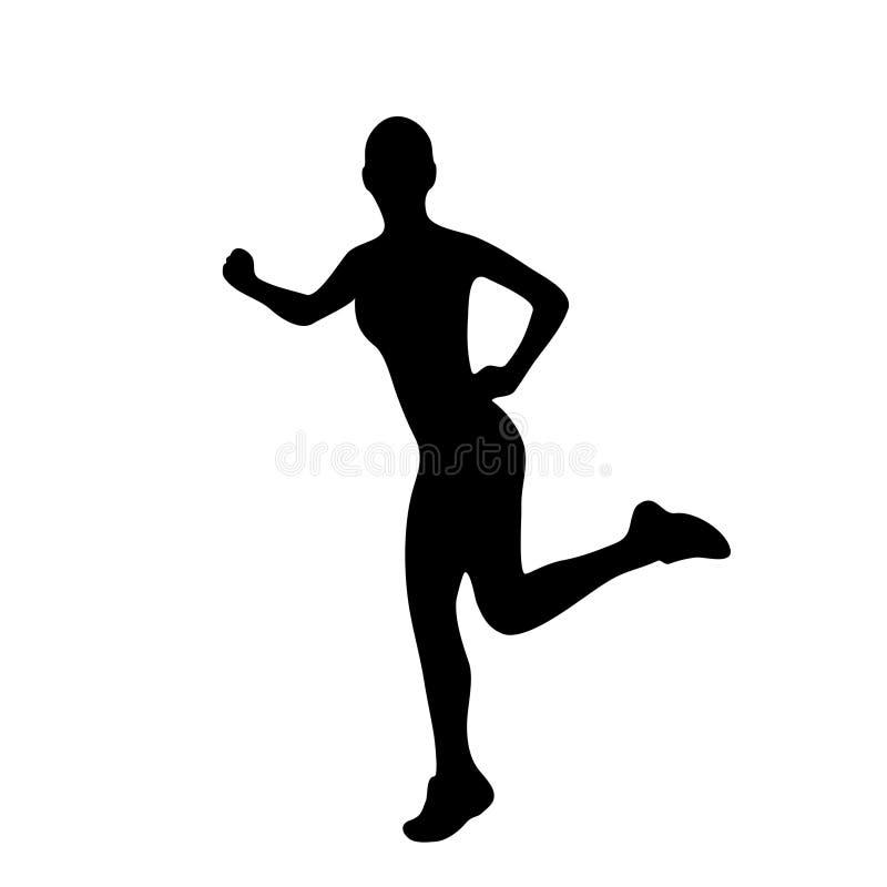 Siluetas del funcionamiento de la mujer del deporte ilustración del vector