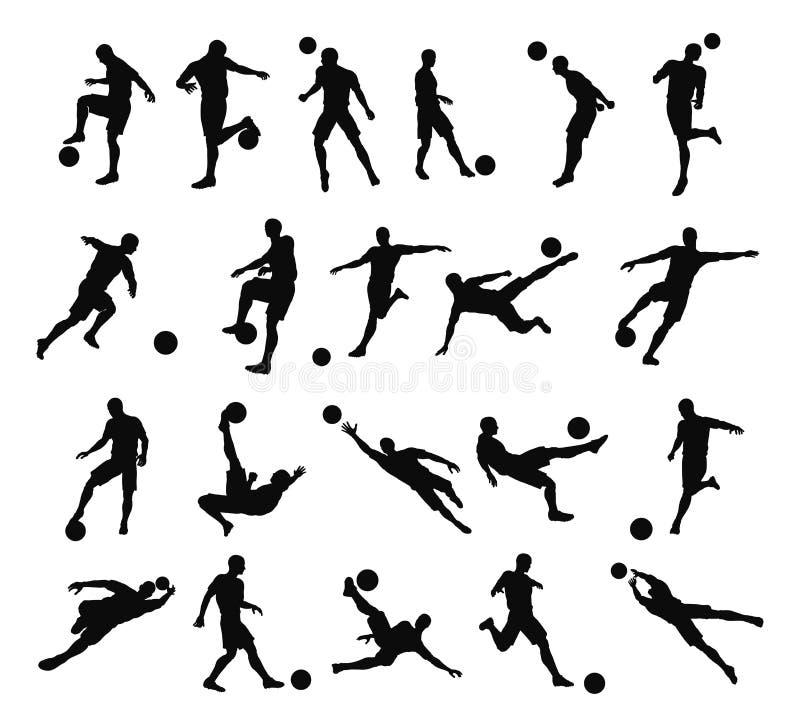 Siluetas del futbolista del fútbol stock de ilustración