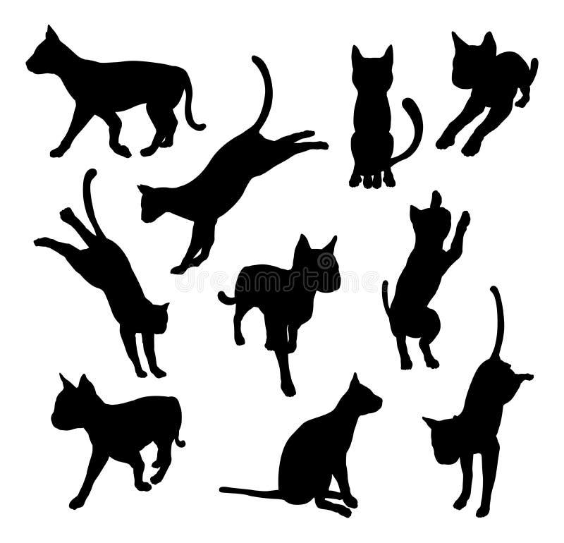 Siluetas del gato del animal doméstico libre illustration