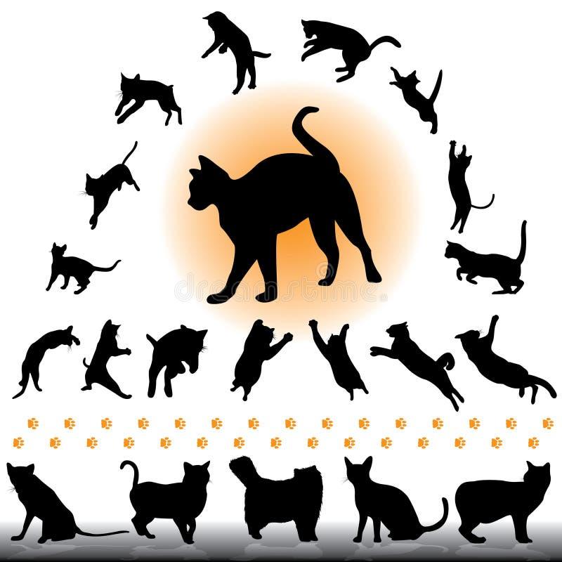 Siluetas del gato fijadas stock de ilustración