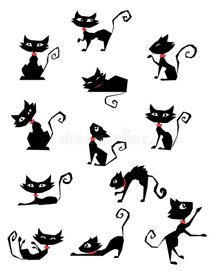 siluetas del gato negro libre illustration