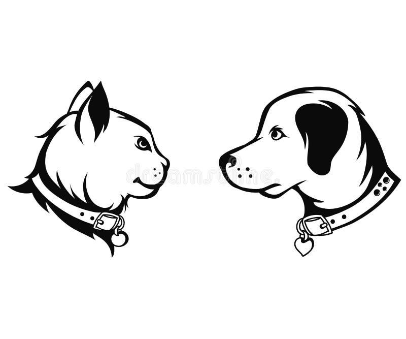 Siluetas del gato y del perro ilustración del vector