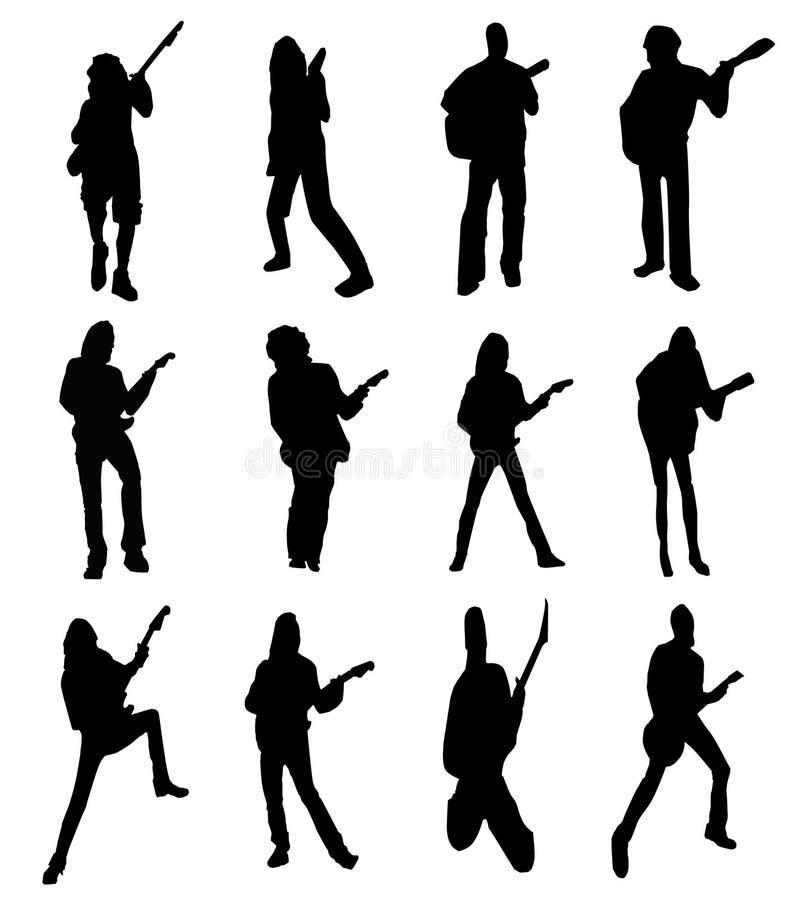 Siluetas del guitarrista imágenes de archivo libres de regalías