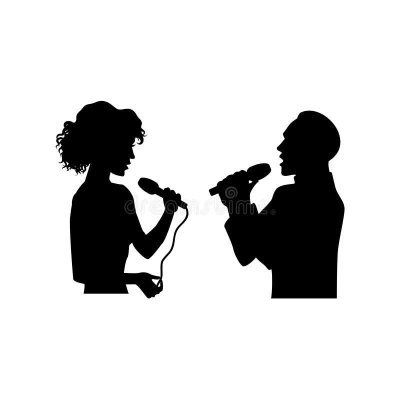 Siluetas del hombre cantante, mujer, media longitud stock de ilustración
