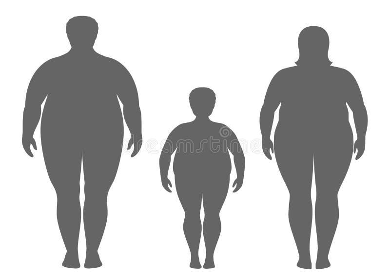 Siluetas del hombre, de la mujer y del niño gordos libre illustration