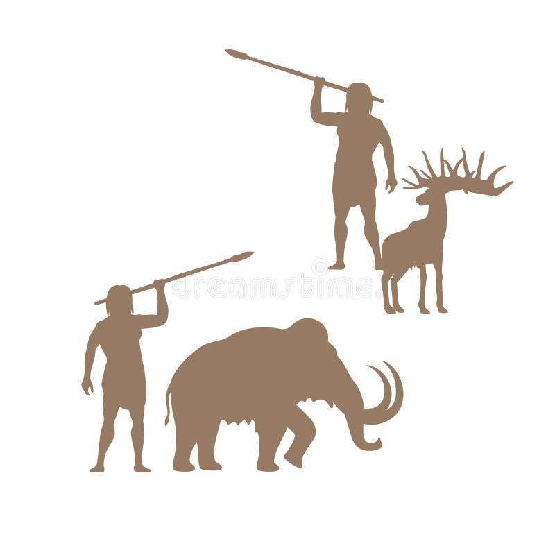 Siluetas del hombre y de animales antiguos ilustración del vector