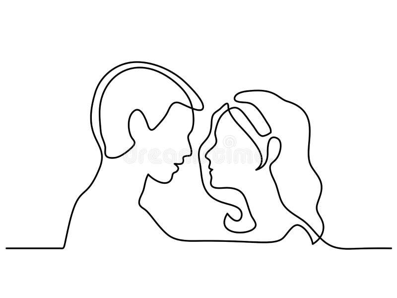 Siluetas del hombre y de la mujer en amor stock de ilustración