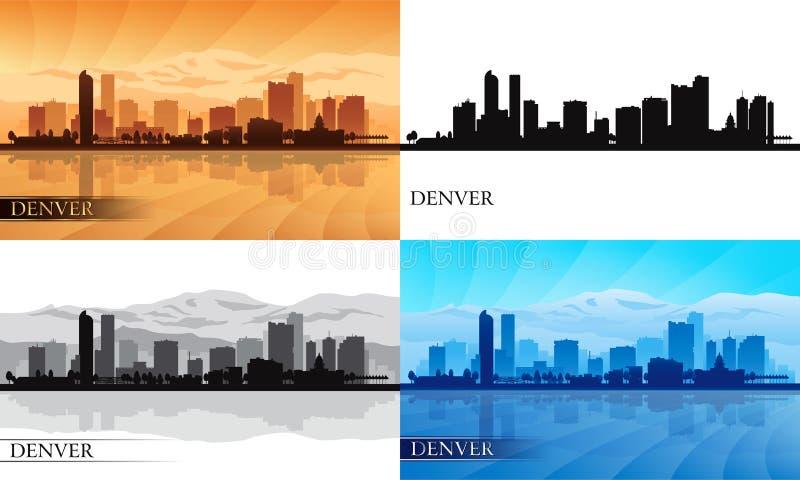 Siluetas del horizonte de la ciudad de Denver fijadas ilustración del vector