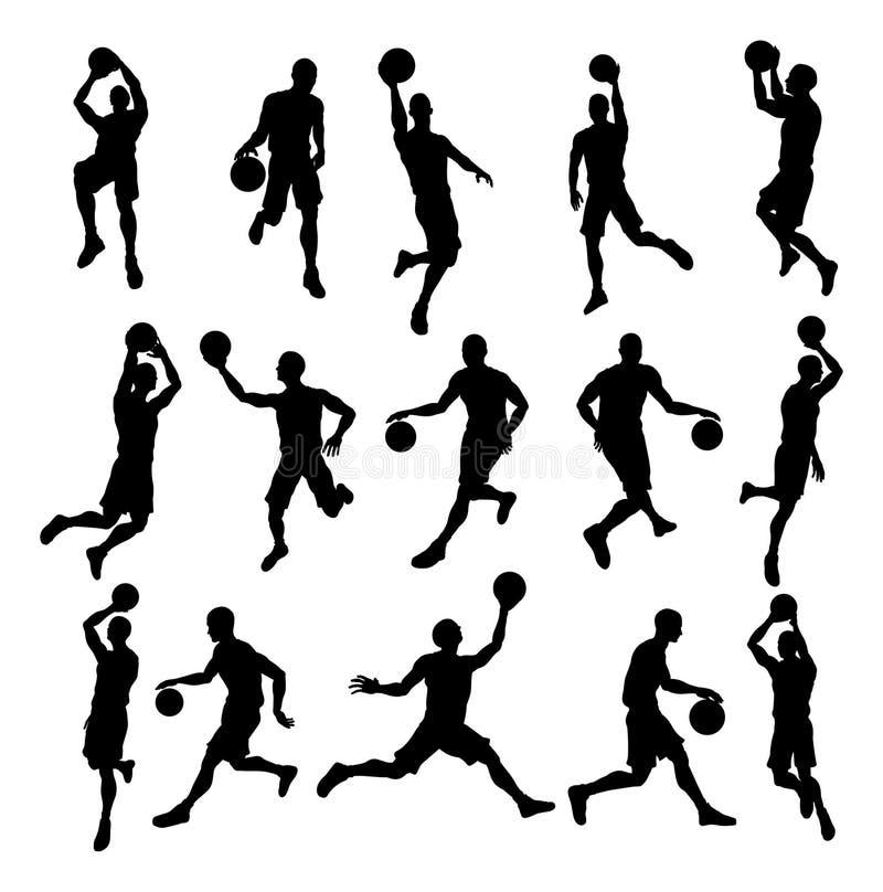 Siluetas del jugador de básquet stock de ilustración