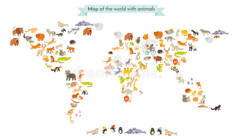 Siluetas del mapa del mamífero del mundo Mapa del mundo de los animales Aislado en el ejemplo blanco del vector del fondo ilustración del vector