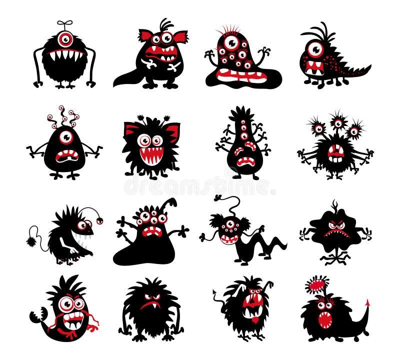 Siluetas del monstruo del negro de Halloween Bacterias y bestia, diablo extranjero, fantasmas o ejemplo del vector del demonio libre illustration