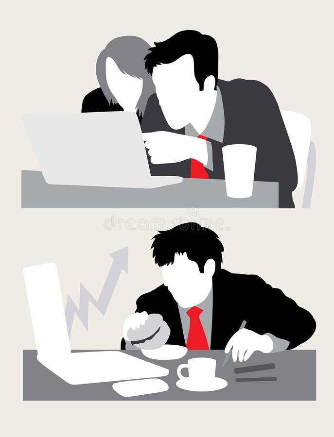 Siluetas del negocio de las ventas de las discusiones stock de ilustración