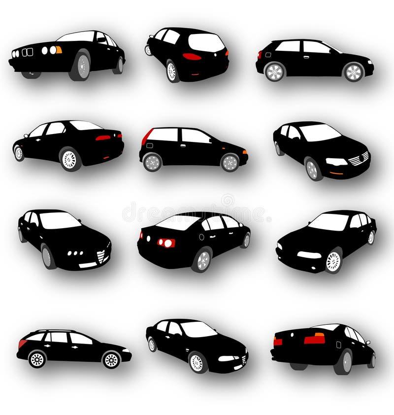 Siluetas del negro del vector del coche ilustración del vector