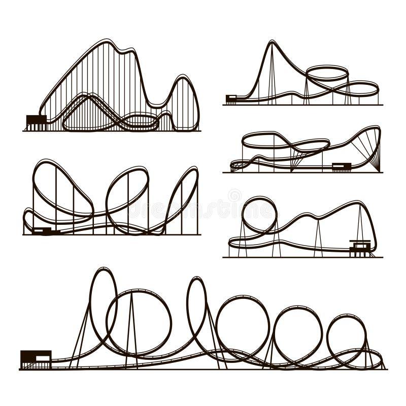 Siluetas del negro del vector del vector del roller coaster aisladas en blanco Iconos del parque de atracciones ilustración del vector