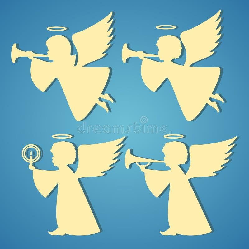 Siluetas del oro de ángeles en fondo azul stock de ilustración