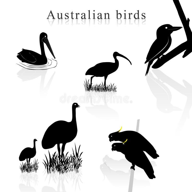 Siluetas del pájaro ilustración del vector