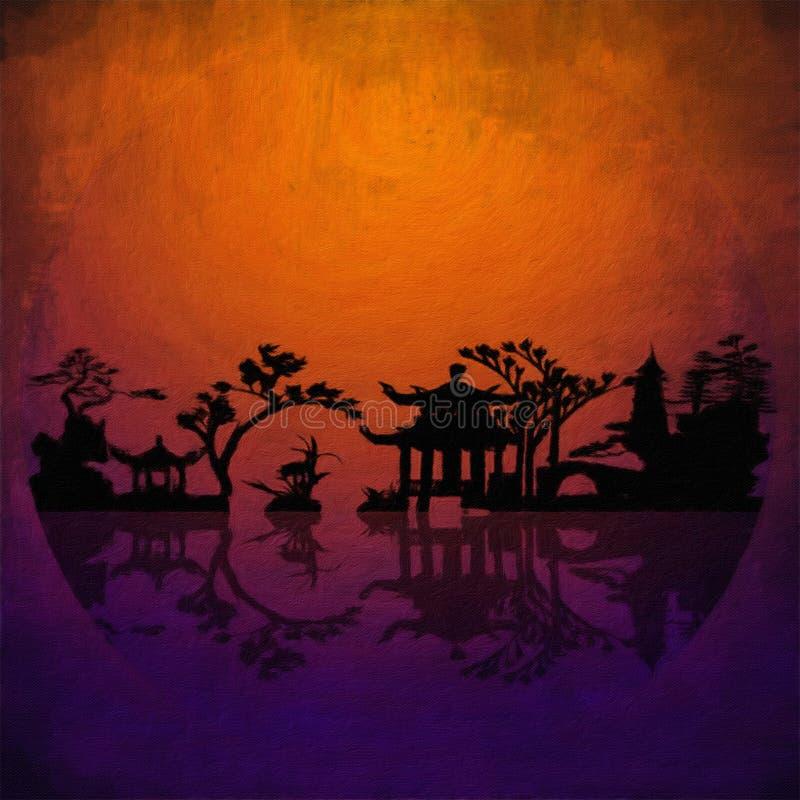 Siluetas del paisaje de Asia libre illustration