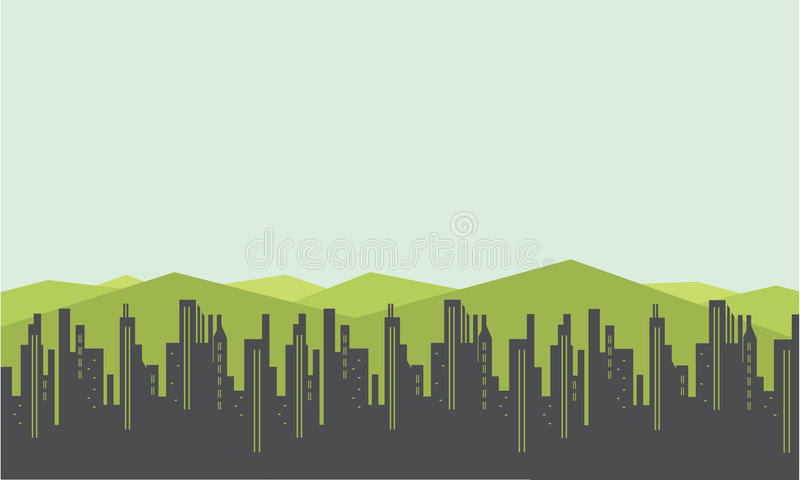 Siluetas del paisaje de la ciudad y de la montaña stock de ilustración