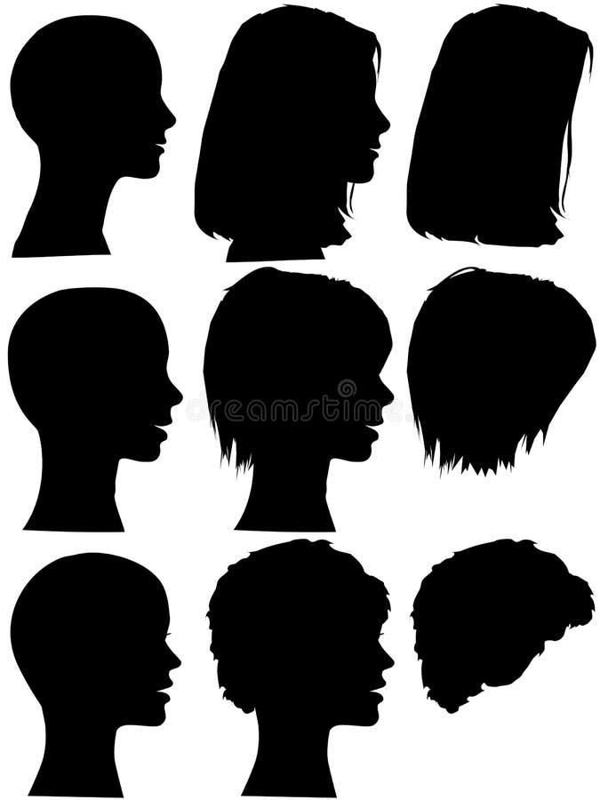 Siluetas del perfil de la mujer del salón de belleza del estilo de pelo libre illustration