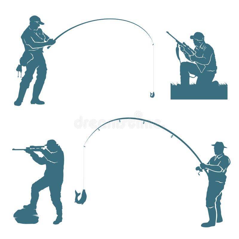 Siluetas del pescador y del cazador ilustración del vector