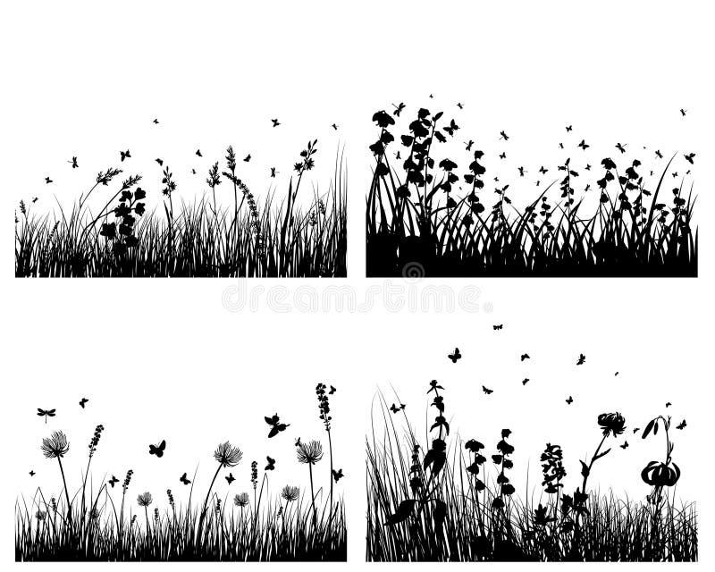 Siluetas del prado stock de ilustración