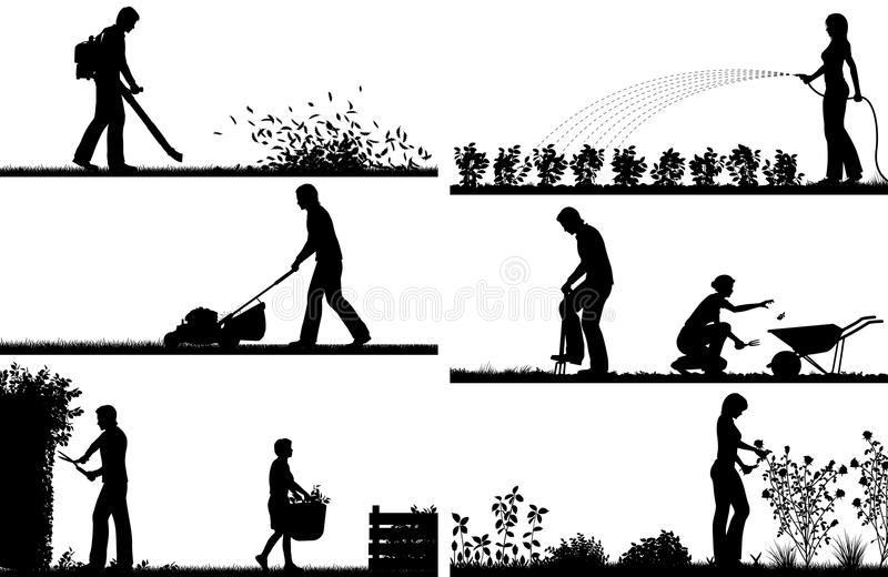 Siluetas del primero plano que cultivan un huerto libre illustration