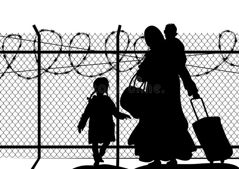 Siluetas del refugiado con dos niños que se colocan en la frontera Religión de la inmigración y tema social ilustración del vector