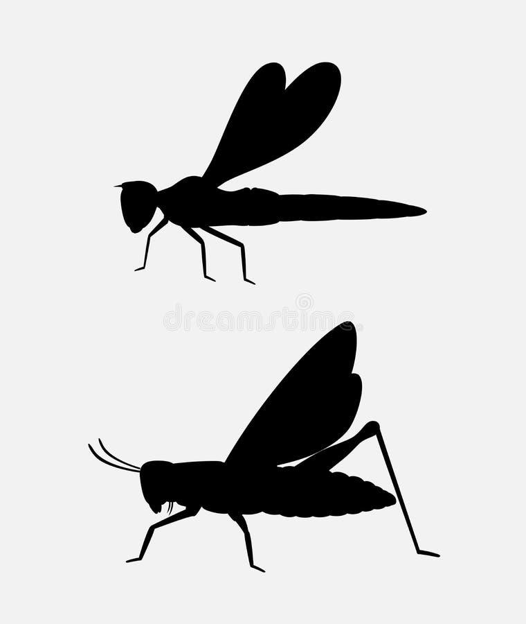 Siluetas del saltamontes y de la libélula stock de ilustración