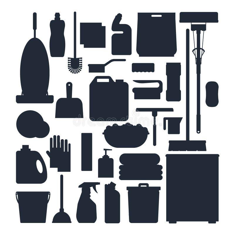 Siluetas del servicio de la limpieza Fije las herramientas de la limpieza de la casa, el detergente y los productos del desinfect ilustración del vector