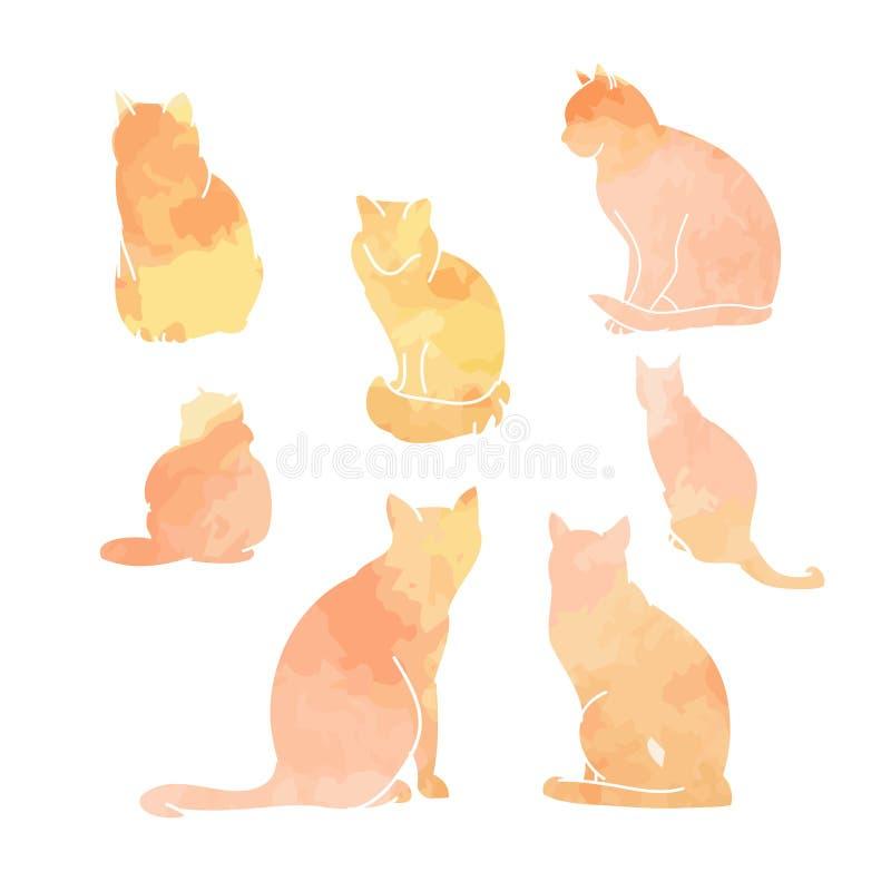 Siluetas del sistema de la acuarela de los gatos stock de ilustración
