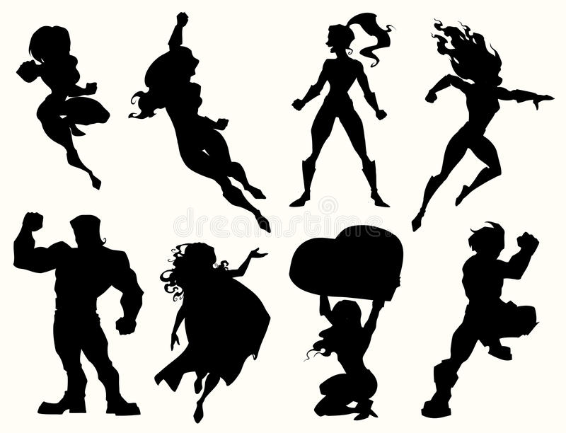 Siluetas del super héroe stock de ilustración
