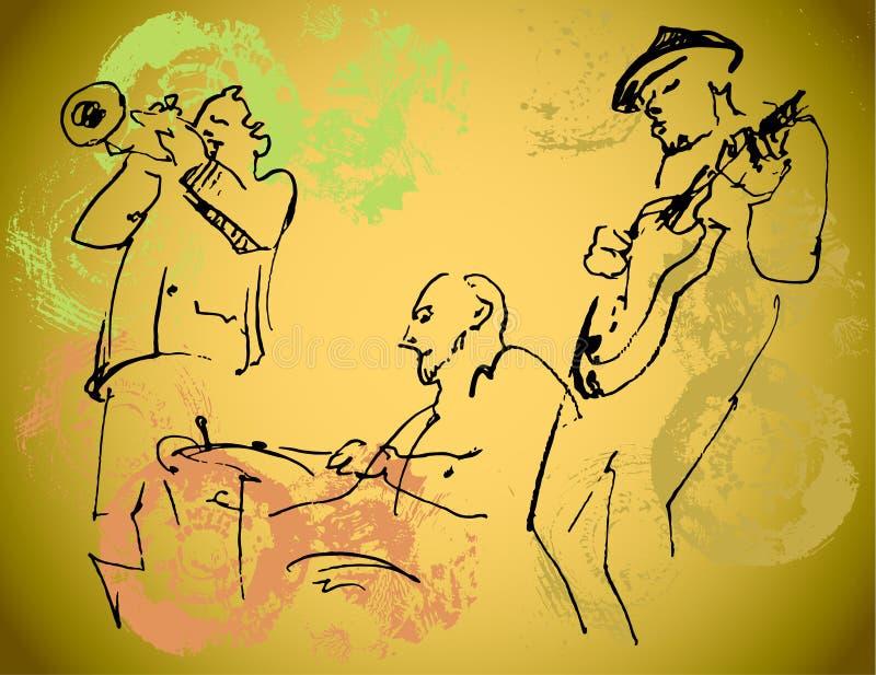 Siluetas del trío del jazz en el fondo del color con textura fotos de archivo