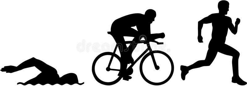 Siluetas del Triathlon ilustración del vector