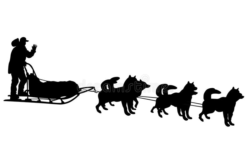 Siluetas del trineo del perro stock de ilustración