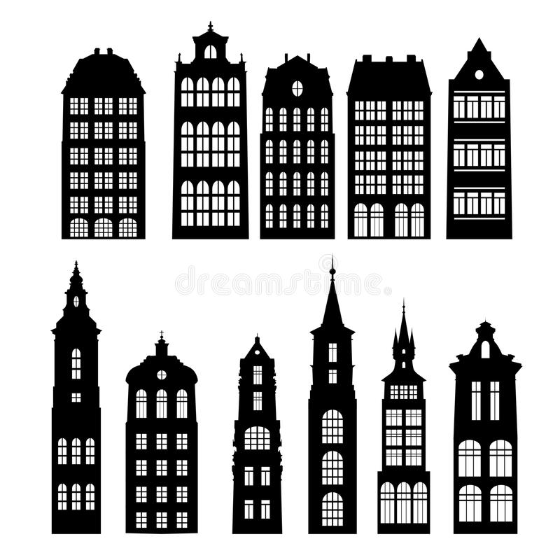 Siluetas del vector de casas ilustración del vector