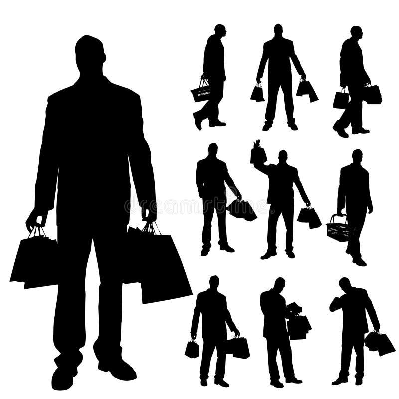Siluetas del vector de hombres stock de ilustración