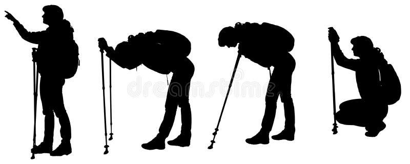 Siluetas del vector de la gente con el palillo del senderismo stock de ilustración