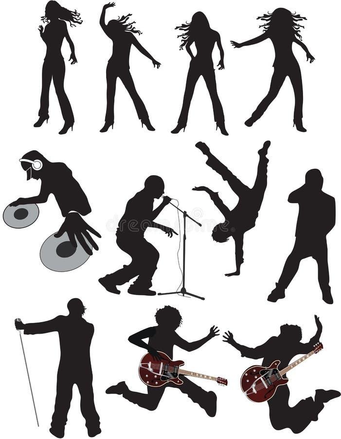 Siluetas del vector de la gente de la música ilustración del vector