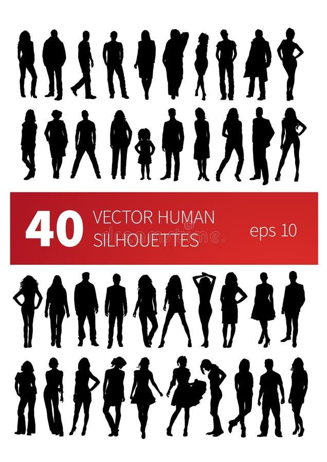 Siluetas del vector de la gente en diversas actitudes stock de ilustración