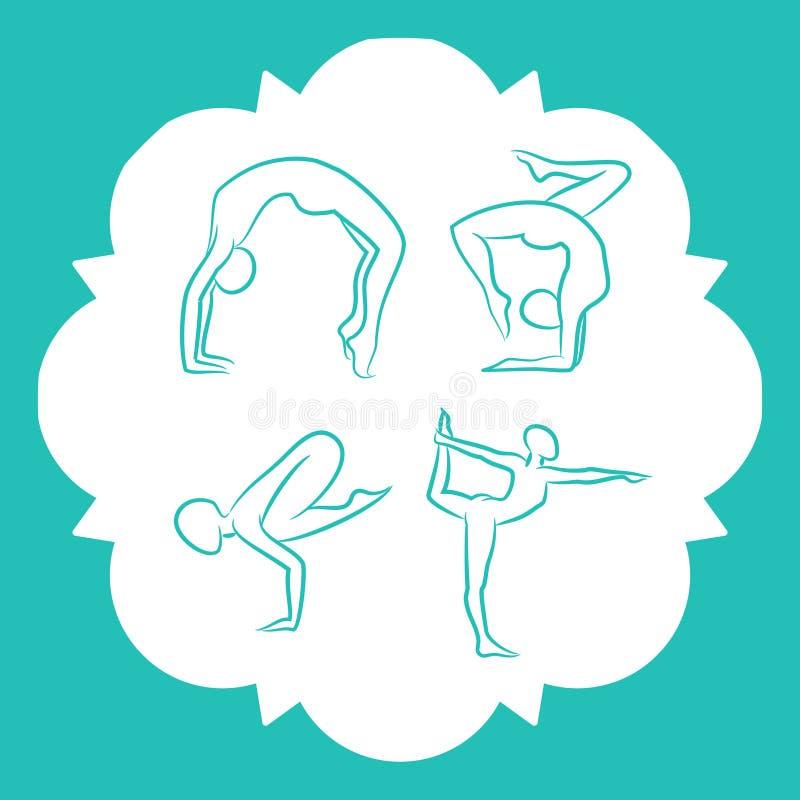 Siluetas del vector de las actitudes de la yoga y de los pilates libre illustration
