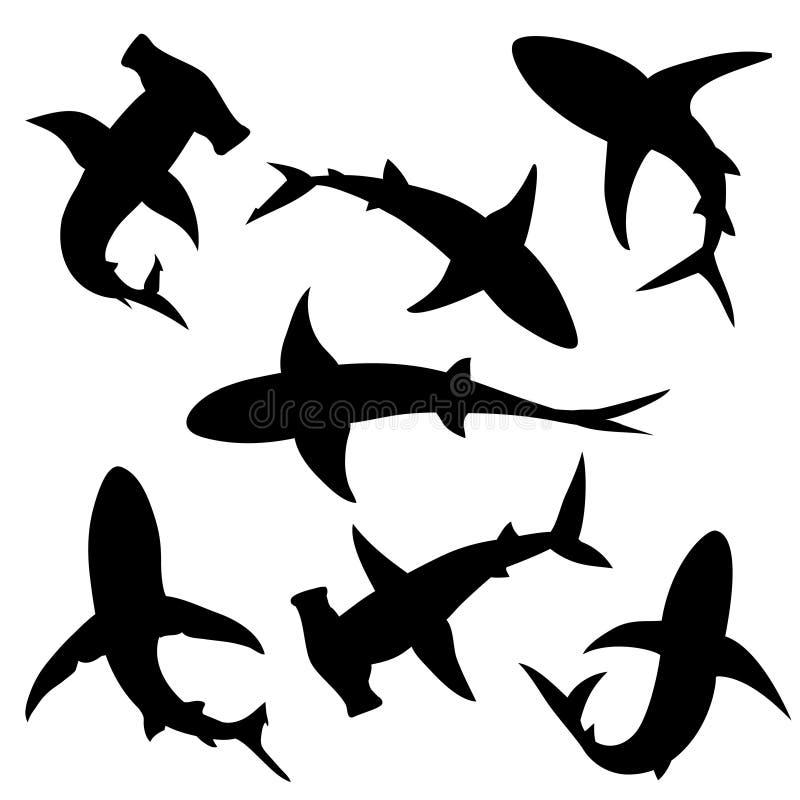 Siluetas del vector del tiburón ilustración del vector