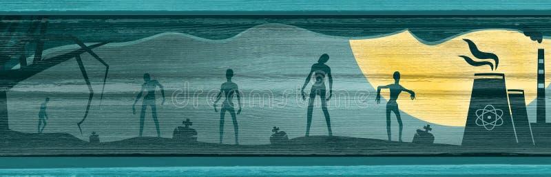 Siluetas del zombi en claro de luna stock de ilustración