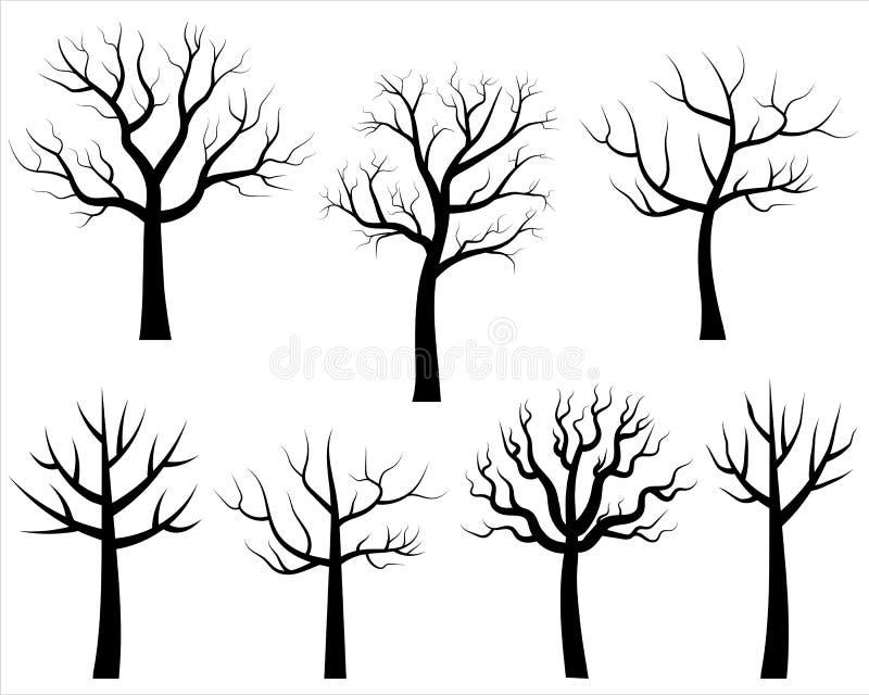 Siluetas desnudas estilizadas del árbol del vector stock de ilustración