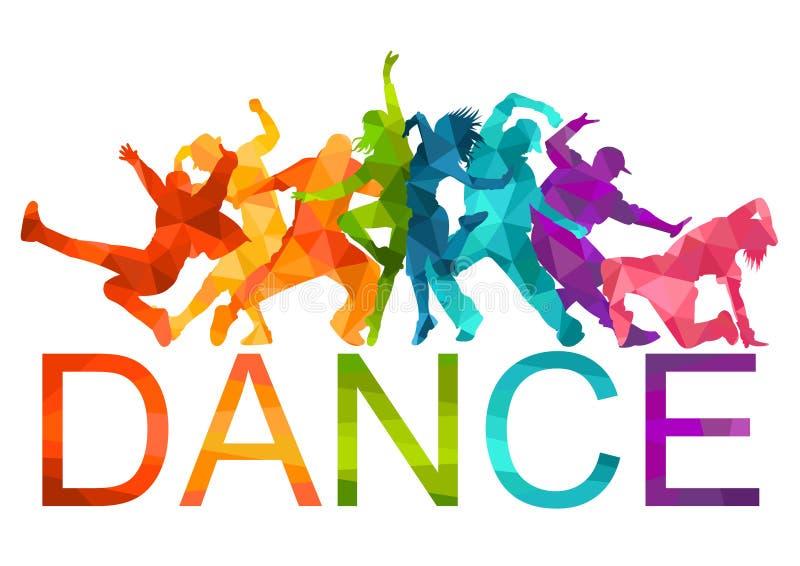 Siluetas detalladas del ejemplo del baile expresivo de la gente de la danza Miedo del jazz, hip-hop, letras de la danza de la cas stock de ilustración