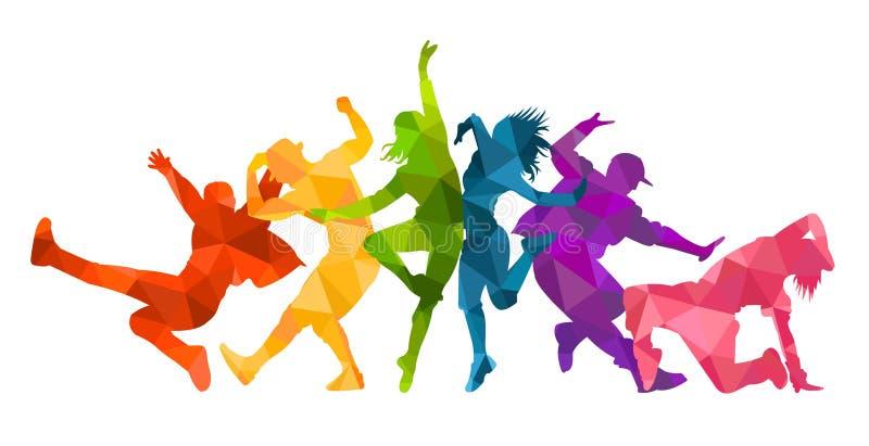 Siluetas detalladas del ejemplo del baile expresivo de la gente de la danza Miedo del jazz, hip-hop, letras de la danza de la cas libre illustration