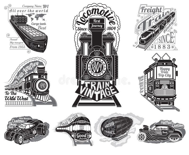 Siluetas determinadas grandes del diversos tren del transporte, nave, tanque de cargo, coche, tranvía y globo stock de ilustración
