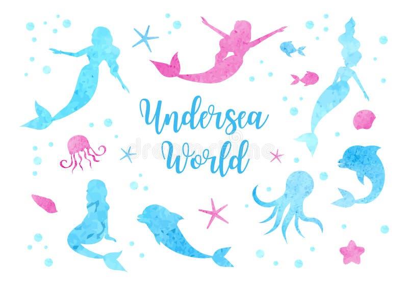 Siluetas determinadas lindas de la acuarela de la sirena, del delfín, del pulpo, de los pescados y de las medusas Colección subac ilustración del vector